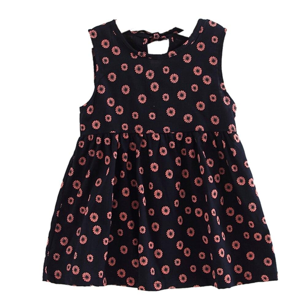 Flower Girls Dress Summer Lovely Cotton Linen Fower Printed A-Line Sleeveless Princess Party Dress Girls Clothing