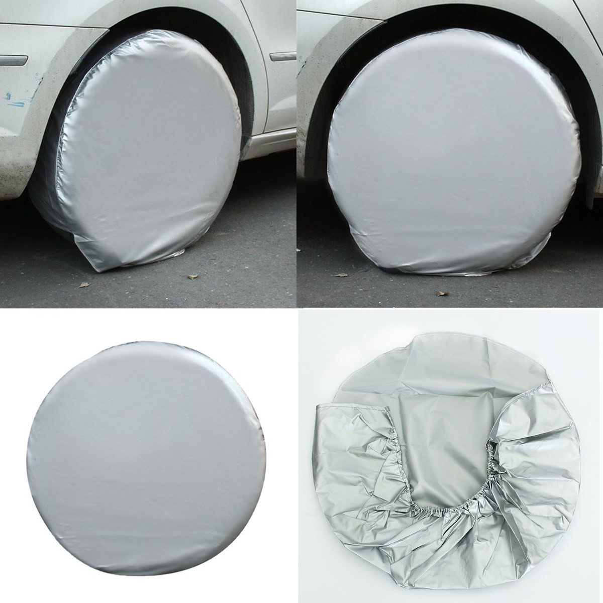 4PCs/Set 27-29 Inches Car Auto Spare Wheels Tire Tyre Cover Heavy Duty Car Waterproof Tire Cover For RV Truck Trailer Motorhome