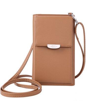 Новинка, Женский кошелек на каждый день, брендовый кошелек для мобильного телефона, большие держатели для карт, кошелек, сумочка, клатч, сумка на ремне через плечо - Цвет: brown