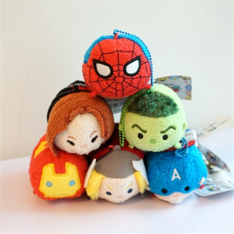 2016 new 9cm  6pcs captain american civil war tsum tsum figures Marvel Avengers Plush Toys spiderman iron man Black Widow toys toward a social history of the american civil war