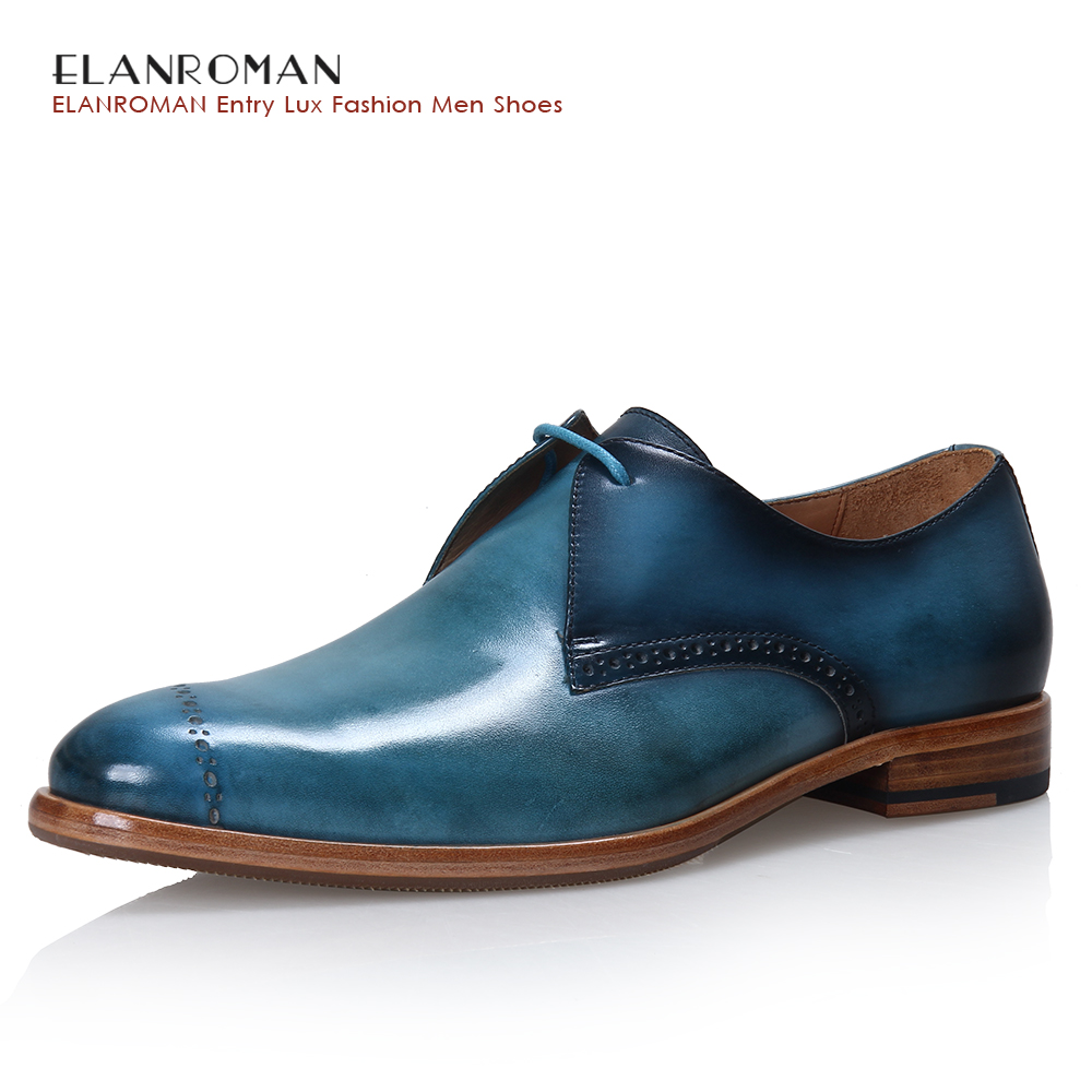 ELANROMAN Men's Derby shoes Genuine Leather dress shoes Pointed Toe Party Wedding Business shoes Height Increasing 30mm Blue elanrom summer men formal derby wedding dress shoes cow genuine leather lace up round toe latex height increasing 30mm massage
