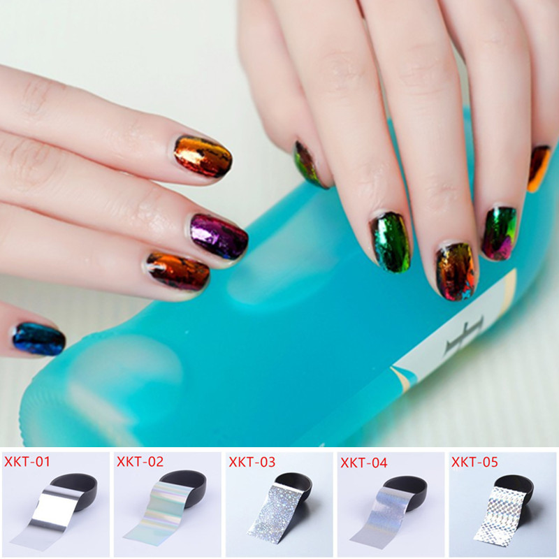Retail 4 x 10cm Nail Art Transfer Foils Sticker, Hot Beauty Free Adhesive Nail Polish Wrap, Nail Tips Decorations Accessories