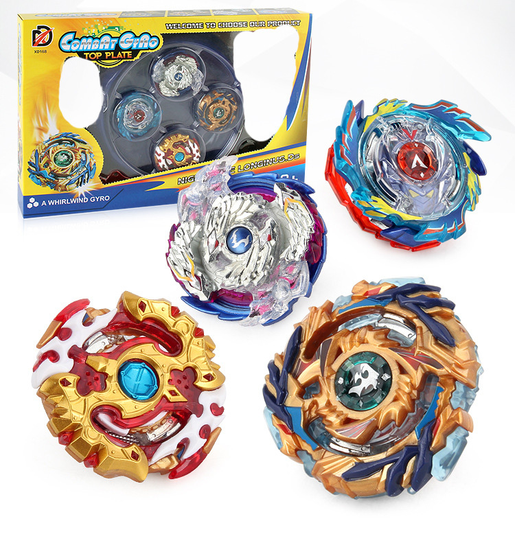 1 Set 4 Pcs Fighting Gyro Toys Combat Disc Battling Top Fusion Two-way Transmitter Rapidity Fight  Launcher Grip Set Boy Gift