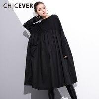 CHICEVER 2018 Spring Black Patchwork Women Dress Female Long Sleeve Loose Big Size High Waist Dresses