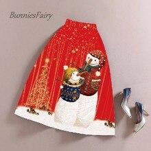 Bunniesfairy футболок с рисунками героев мультфильма Высокая Талия плиссированная юбка миди Рождественский костюм год Праздничная одежда красная юбка с фалдами