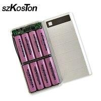Diy 8x18650 suporte da bateria caixa de banco de potência escudo plástico caso tipo c micro porta usb duplo display powerbank caixa sem bateria|Carregadores| |  -