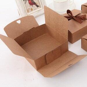Image 4 - 20 pz/lotto Naturale Kraft Scatola di Carta Regalo Scatola di Imballaggio Nastro Marrone Scatole di Biscotti di Imballaggio per i Dolci Della Caramella Sbuffi Box Presente scatola di cartone