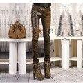 2016 pantalones vaqueros del resorte medias de la manera de LA PU patchwork pantalones pitillo pantalones de cuero femeninos pantalones largos TAMAÑO 26-32 Marrón Negro pantalones vaqueros