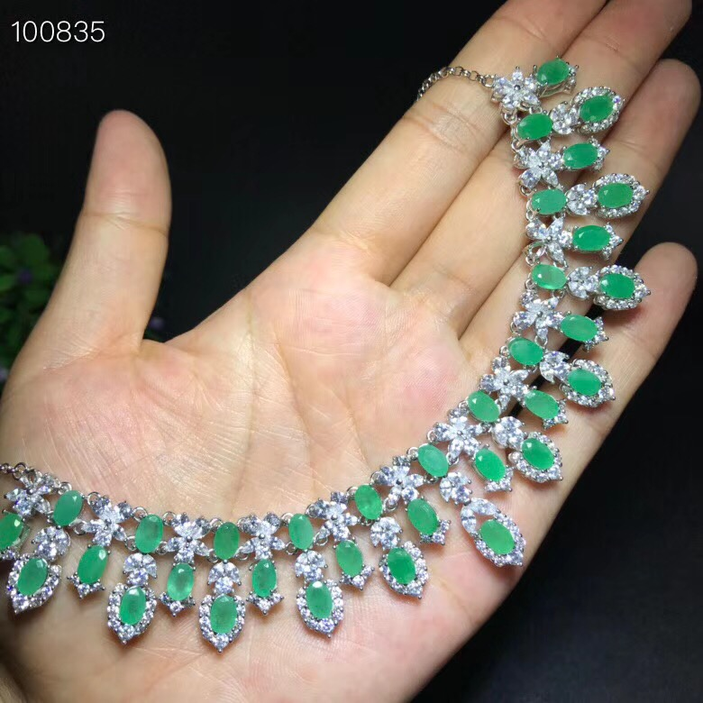 Uloveido Natural Green Emerald Wedding Pendant Women 925 Sterling Silver Gemstone Anniversary Necklace Pendant for Women FN277