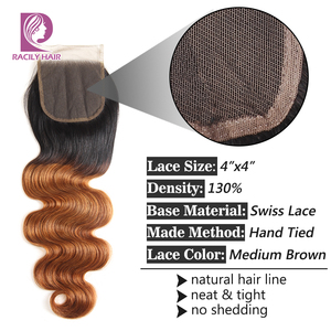 Image 5 - Racily Hair T1B/30 Brown Ombre Closure Brazilian Body Wave Lace Closure With Baby Hair 4x4 Lace Closure Remy Human Hair Closure
