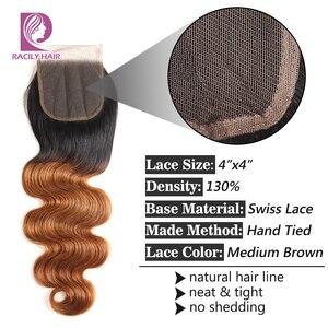 Image 5 - Racily Hair T1B/30 Brown Ombre fermeture brésilienne vague de corps dentelle fermeture avec bébé cheveux 4x4 dentelle fermeture Remy cheveux humains fermeture