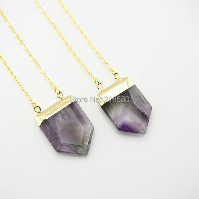 Ncps0584 pentagon amethysts charm healing crystal point pendant ncps0584 pentagon amethysts charm healing crystal point pendant necklace gold or silver aloadofball Image collections
