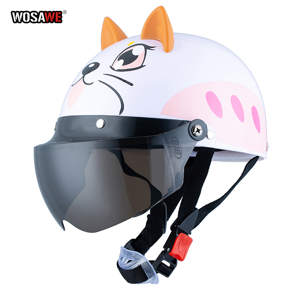 Electric Vehicle Sccoter Kids Half Helmet Children Safety Boy Girl Cartoon Motorcycle Helmet with Goggle Visors for 3 10 years-in Helmets from Automobiles & Motorcycles