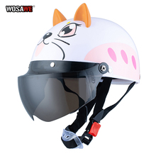 Electric Vehicle Sccoter Kids Half Helmet Children Safety Boy Girl Cartoon Motorcycle with Goggle Visors for 3-10 years