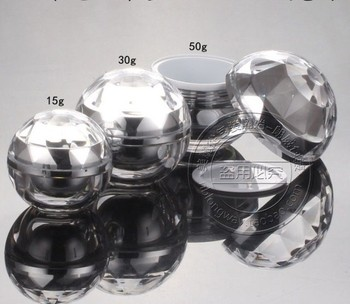 Capacity 15g  50pcs/lot Top grade silver acrylic cosmetic containers,Cosmetic Packaging,Cosmetic ball shape 0.5ounce cream jar