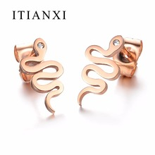 ITIANXI Fashion Rose Gold color Cute Snake Stud Earrings For Women Hot Sale Stainless Steel Female
