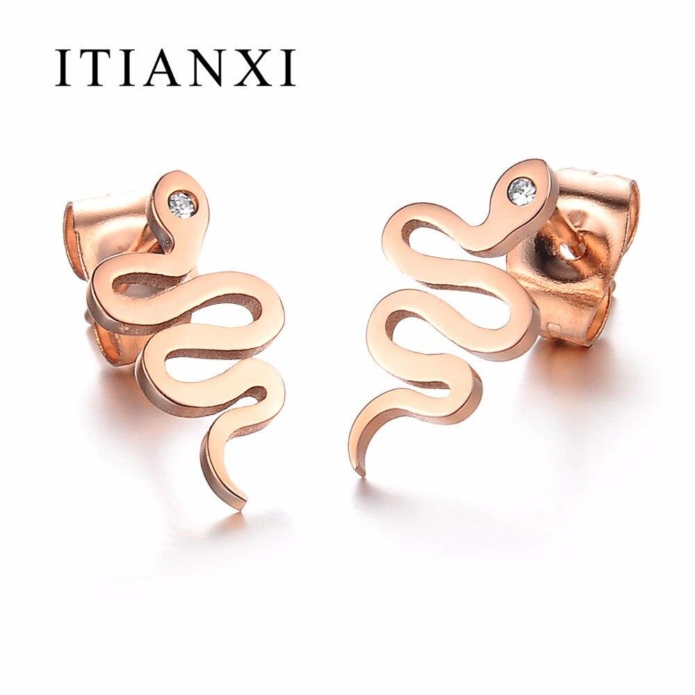ITIANXI font b Fashion b font Rose Gold color Cute Snake Stud Earrings For Women Hot
