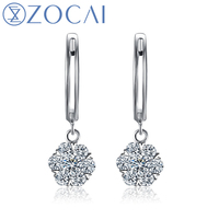 BLOSSOMING ROMANCE ZOCAI 0 5 CT CERTIFIED DIAMOND EARRINGS LEVERBACK ROUND CUT 18K WHITE GOLD FREE