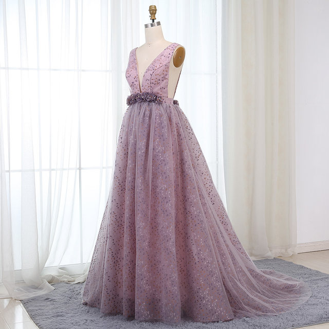 Online Shop BeryLove Sexy Ball Gown Lilac Lace Evening Dresses 2018 ...