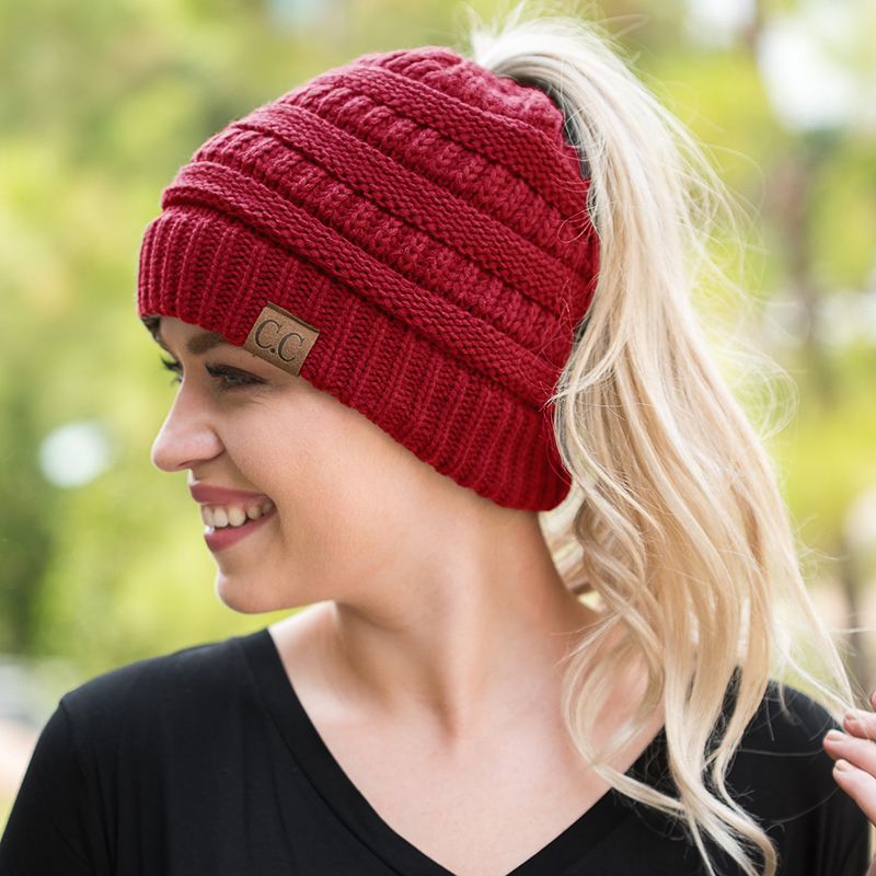 LONSUNNOR 2017 New Trendy CC Warm Winter Hat For Women Ponytail Beanie Stretch Cable Knit Messy Bun Hats Soft Ski Cap Wholesale