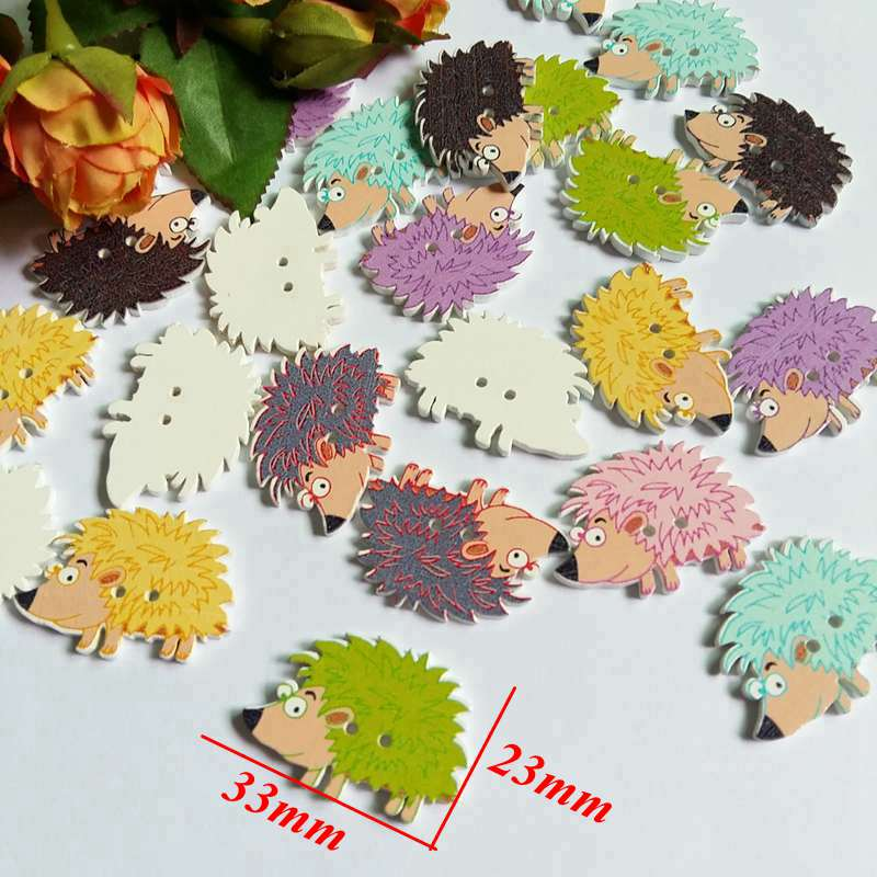 Buttons Mixed 40pcs Decorative Wooden Buttons For Children Clothes Diy Scrapbooking Crafts Sewing Tool Flatback 2 holes 23*33mm Apparel Sewing & Fabric