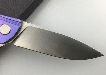 LEMIFSHE Neon flipper folding ball bearing D2 TC4 titanium Kitchen Fruit camping hunting outdoors survive Utility knife EDC tool 3