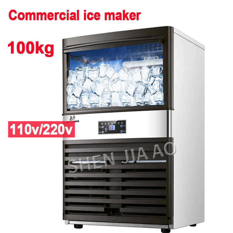 110V/220V Ice Maker Commercial Milk-tea Shop/small Bar/cafe Fully Automatic Large Ice Cube Machine 100kg/24H Ice Making Machine