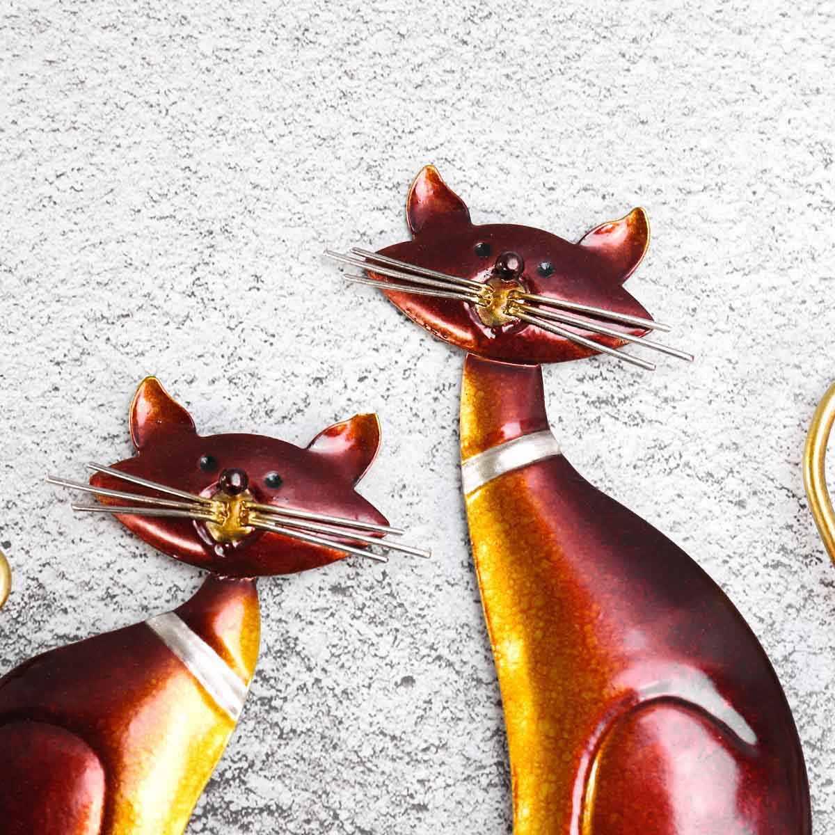 Tooarts Chave Gato Titular Cabide de Parede Gancho de Ferro Decoração 4 Ganchos para Casacos Sacos de Parede Montar Titular Roupas Decorativo Como presente