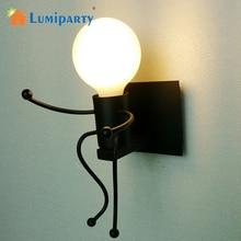 Lámpara LED E27 Vintage de Metal con diseño de Robot de dibujos animados para pared, lámpara de iluminación para interior, porche exterior, hogar, cabecera, decoración, iluminación
