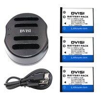 Batterie de caméra EN-EL10 EN EL10 LI-42B Li-40B LI42B Li 42B 40B + chargeur usb pour OLYMPUS U700 U710 FE230 FE340 FE290 FE360 3 pièces