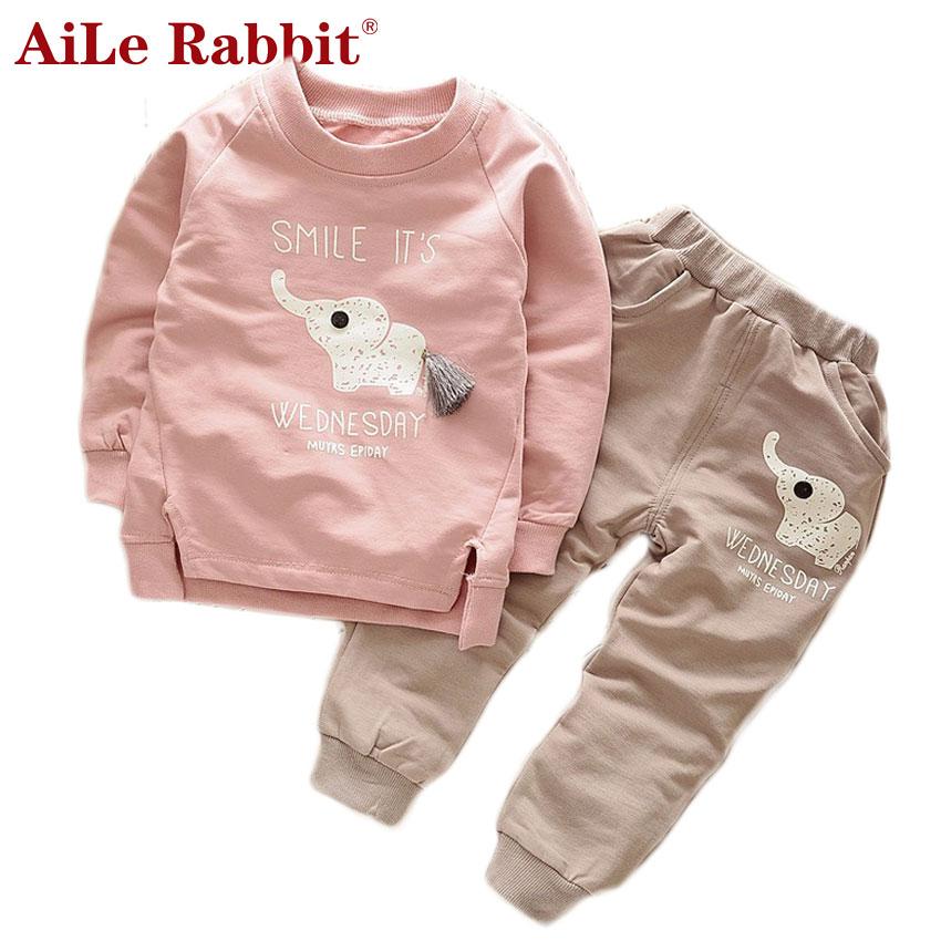 AiLe Rabbit Kids Clothes 2017 Autumn Baby Boys Girls Cartoon Elephant Cotton Set Children Clothing Sets Child T-Shirt+Pants Suit