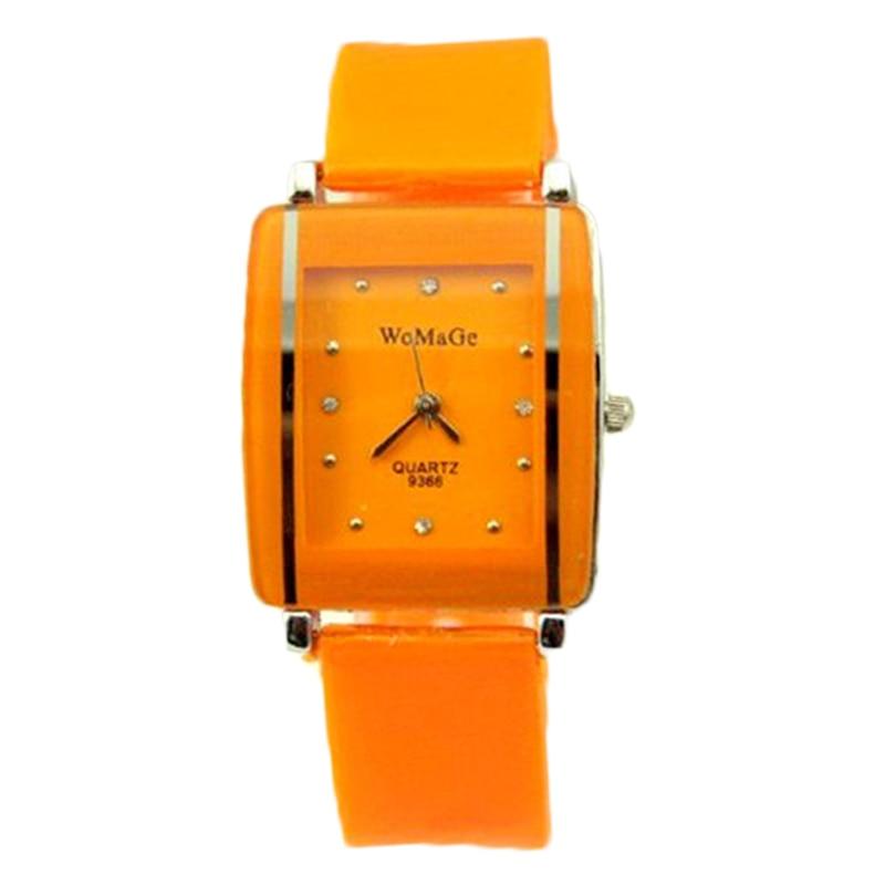 New Designer Lady Elegant Square Dial Crystal Watch Girls Fashion Bracelet Wristwatch 11 Colors Silicone Band Women Quartz Watch