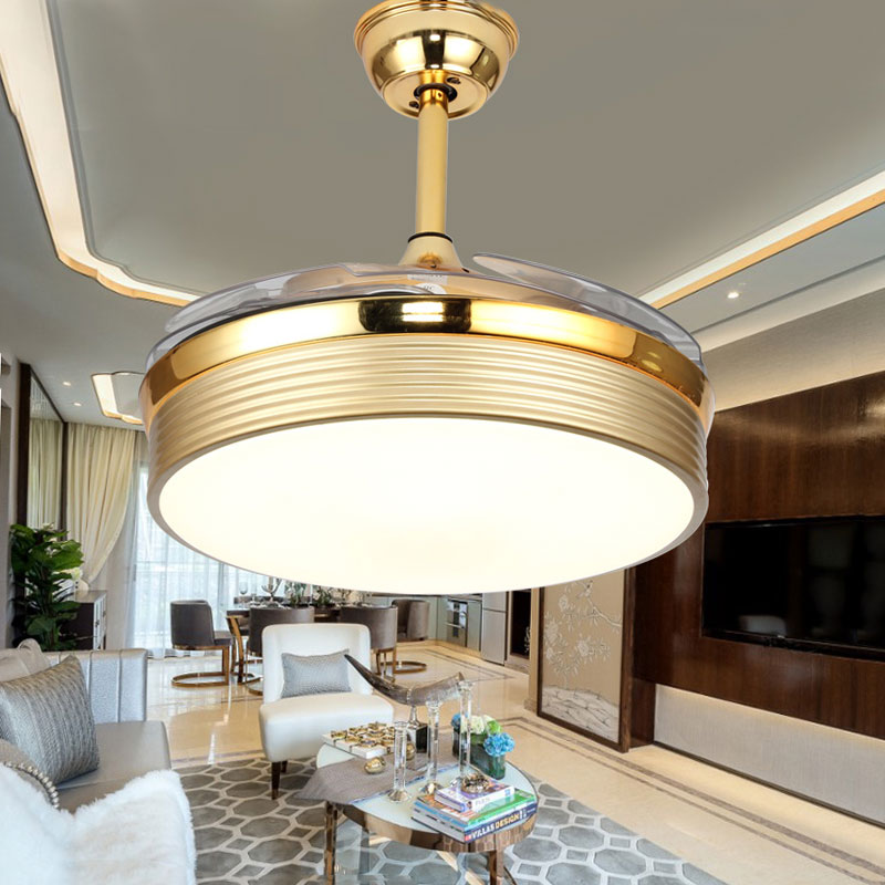 Tireless 42inch High Quality Modern Invisible Fan Lights Acrylic Leaf Led Ceiling Fans 110v 220v Wireless Control Ceiling Fan Light Lights & Lighting Ceiling Fans