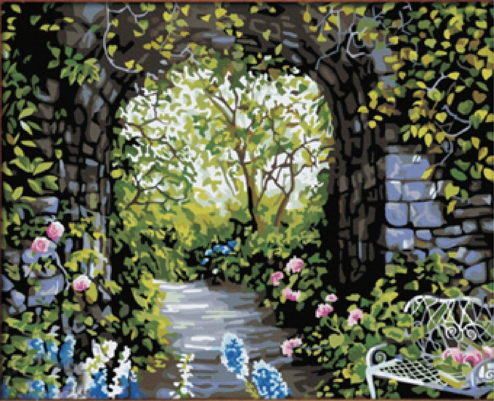 Diy garden wall art - Living Room Frameless Scenery Digital Canvas By Numbers Picture Painting Decor Diy Oil Painting Romantic Garden
