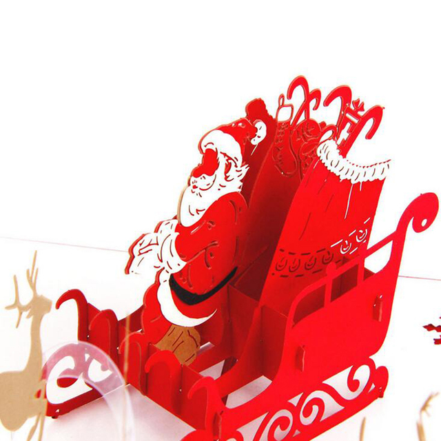 Hot 3d handcrafted origami merry christmas greeting cards pop up hot 3d handcrafted origami merry christmas greeting cards pop up card santa claus deer car postcards m4hsunfo