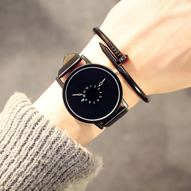 New fashion creative watches women men quartz-watch 2017 hot brand unique dial design lovers' watch leather wristwatches clock