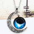 Hot Sale Factory Direct Selling Necklace Star Moon Time Interstellar Jewelry Choker Creative Space Pendent Necklace