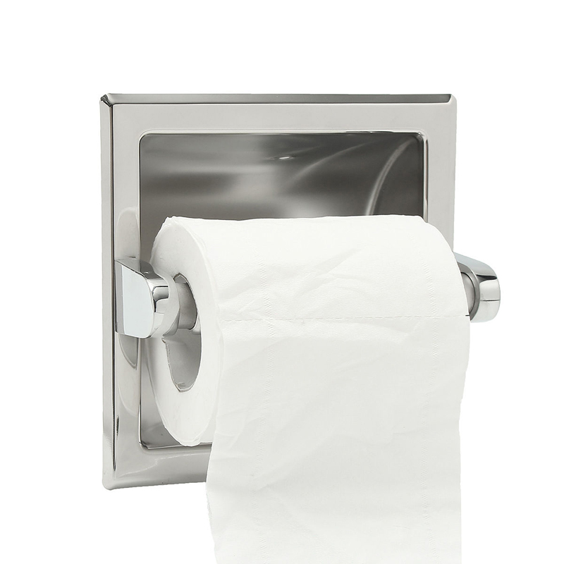 recessed toilet tissue brushed nickel loaded paper roll holder stand stainless steel wall mount bathroom paper holder