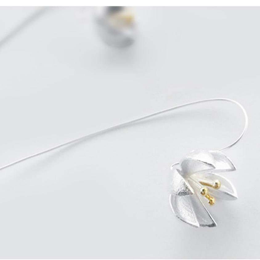 S925 hand made Chiang mai original design draht lotus blume ohrringe ...