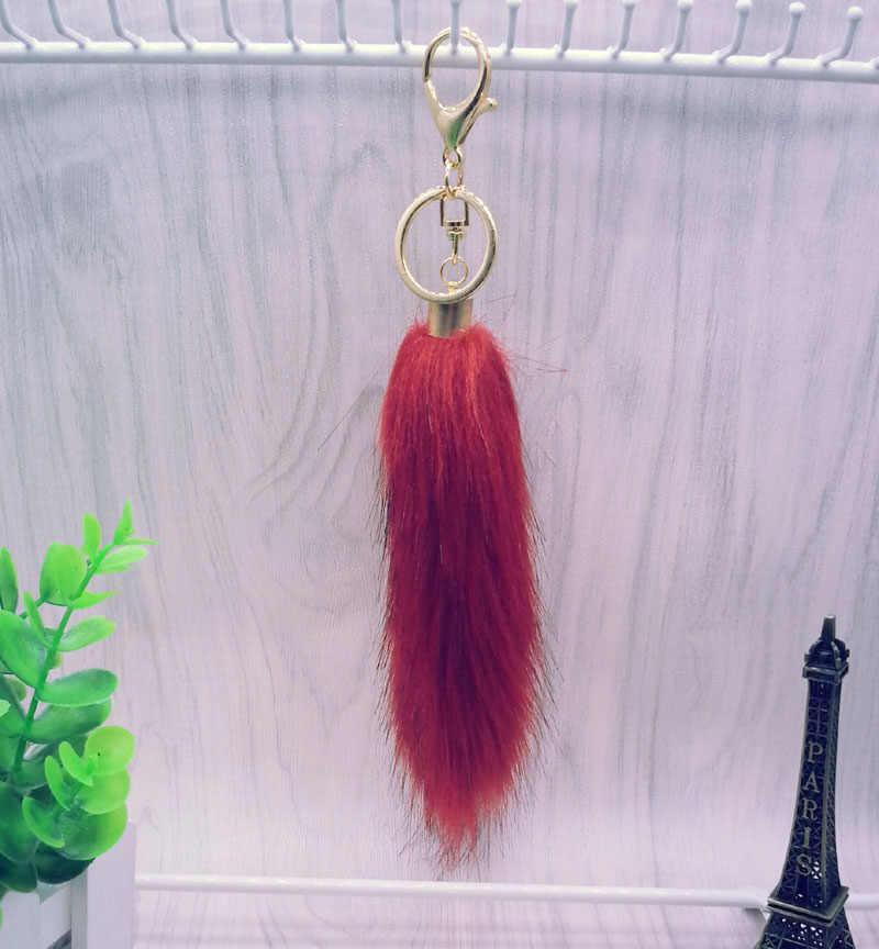 Chave Da Cauda Da Pele do Saco das mulheres da cadeia de Anel Chave do Carro chaveiro-cores pompom 12 pom pom para Bolsa charme presente jóias #16017