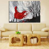 Modern Abstract Figures Red Long Hair Girl Woods Oil Painting on Canvas Poster Wall Picture for Living Room Cuadros Decor