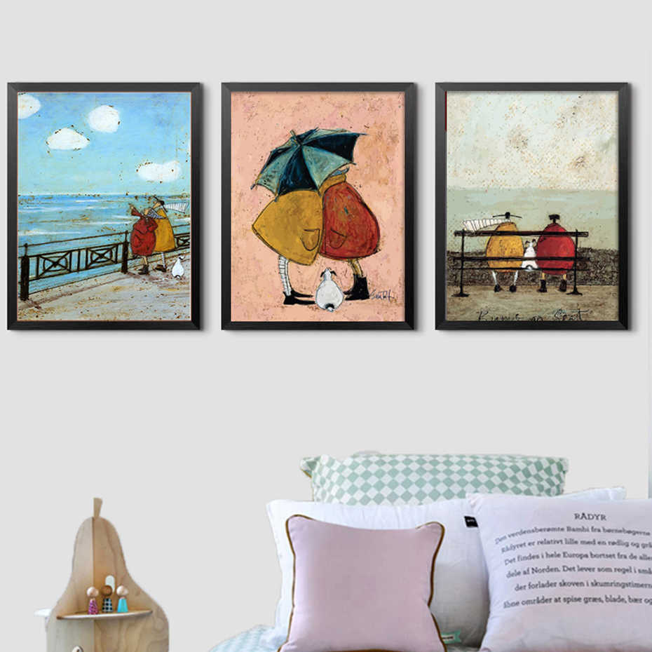 Nordic Style Happy Family Abstract Love Canvas Print Picture Cartoon Wall Art Painting Home Decoration Module Poster Living Room