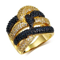 Latest Black White Women CZ Rings Bling Bling Cocktail Party Jewelry 18K Gold Plate Woven Face