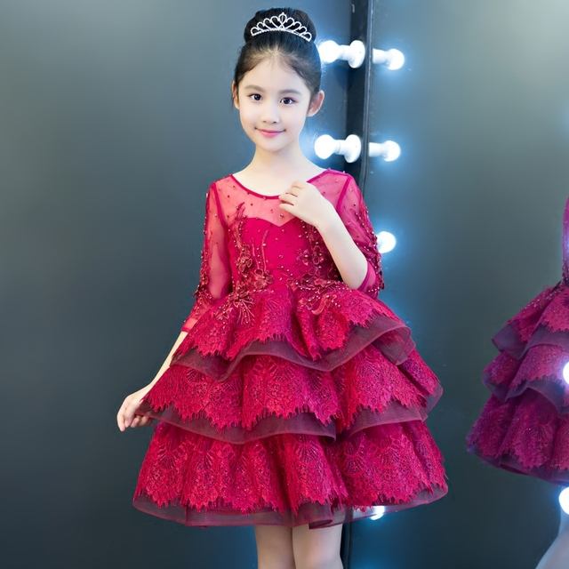 2018 New Luxury Kids Girl Ball Gown Princess Lace Dress Children