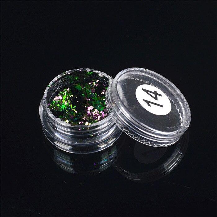 ZKO,, 1 коробка, хамелеон, блестки для ногтей, голографическая пудра, пыль, ослепительные ногти, дизайн ногтей, блестящие украшения - Цвет: 14