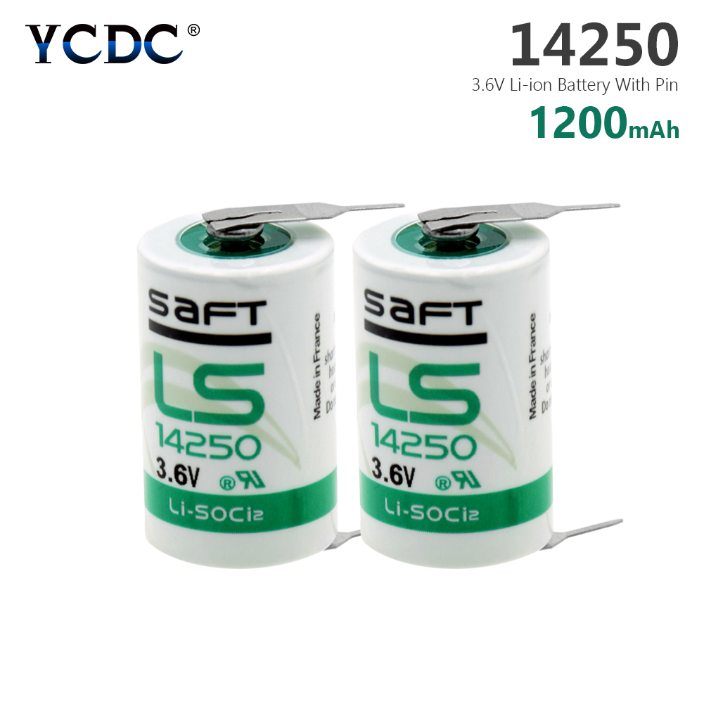YCDC 2pcs <font><b>1/2AA</b></font> Size Lithium Battery 3.6V 14250 SL350 For Mac Computer With Solder Feet image