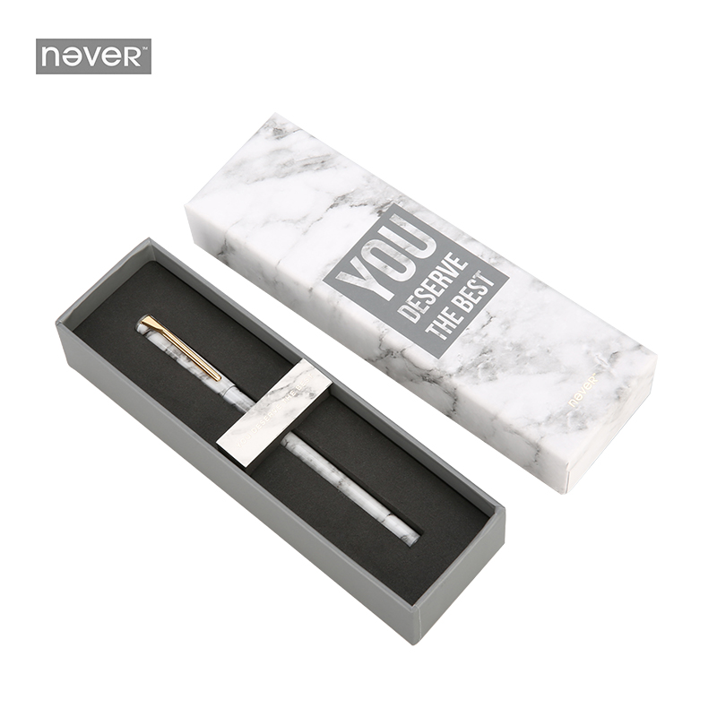 Never Marble Grain Metal Magnet Pen Gel Pen Black Ink 0.5mm Creative Gift Package Stationery Fashion Office And School Supplies fine tech gel pen 12 pack black ink