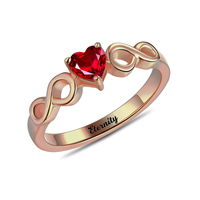Personalized Double Infinity Ring Heart Birthstone Ring Anniversary Gift Engraved Rings For Women