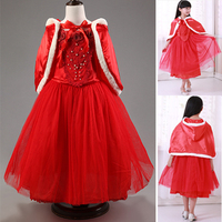 Free Shipping Kids Clothes Brand Princess Baby Girls Dress Cartoon Movie Cosplay Fever Cinderella Red Dresses