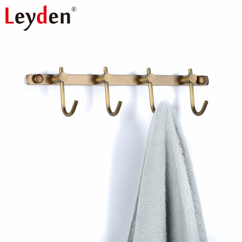 Classic Wall Mounted Four-Rod Towel Rack Shelf for Bathroom in Antique Brass
